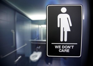 A sign protesting a recent North Carolina law restricting transgender bathroom access is seen at the 21C Museum Hotel in Durham, N.C. (JONATHAN DRAKE/REUTERS)